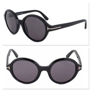 New TOM FORD Black Round Sunglasses